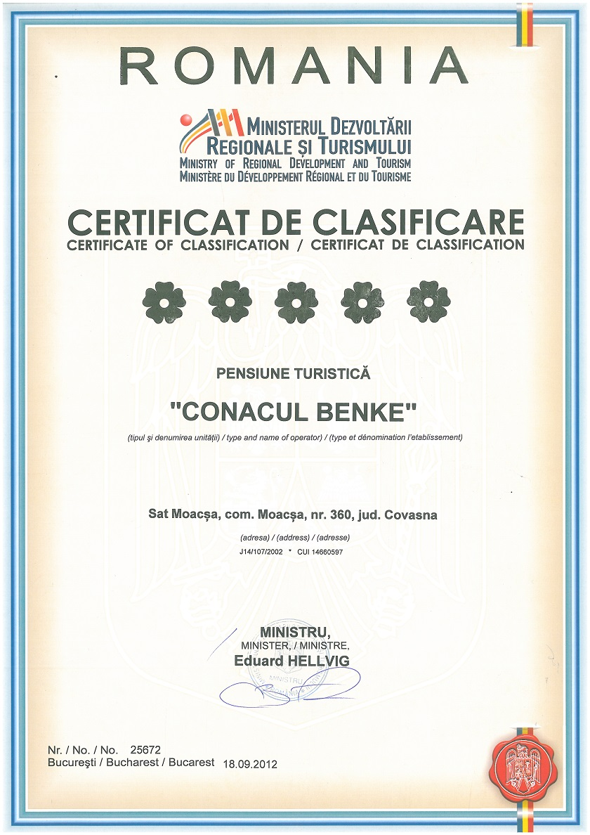 Conacul Benke Certificare
