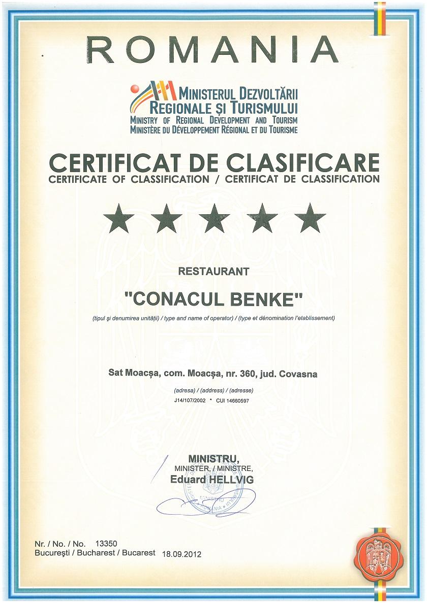 Conacul Benke Certificare Restaurant